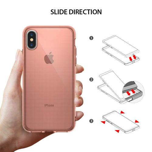 Apple iPhone X Case, Ringke [AIR] Flexible Transparent Lightweight & Soft TPU Protective Cover - Rose Gold