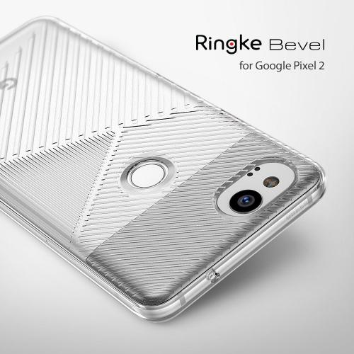 Google Pixel 2 Case, Ringke [BEVEL] Lightweight Diagonal Textured Form Fitting Shock Absorption TPU Protective Cover - Clear