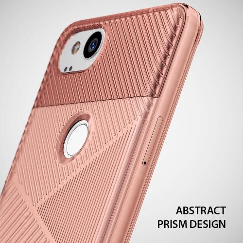 Google Pixel 2 Case, Ringke [BEVEL] Lightweight Diagonal Textured Form Fitting Shock Absorption TPU Protective Cover - Rose Gold