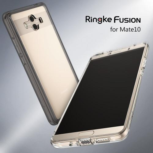 Huawei Mate 10 Case, Ringke [FUSION] Crystal Clear PC Back TPU Bumper Natural Shape Protection Cover with Wrist Strap - Smoke Black