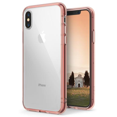 Apple iPhone X Case, Ringke [FUSION] Crystal Clear PC Back TPU Bumper Drop Protection Cover - Rose Gold