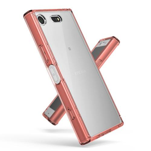 Sony Xperia XZ1 Compact Case, Ringke [FUSION] Crystal Clear PC Back TPU Bumper Drop Protection Cover - Rose Gold