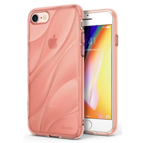 Apple iPhone 8/7 Case, Ringke [FLOW] Minimalist Wavy Textured Shockproof TPU Design Cover - Rose Gold