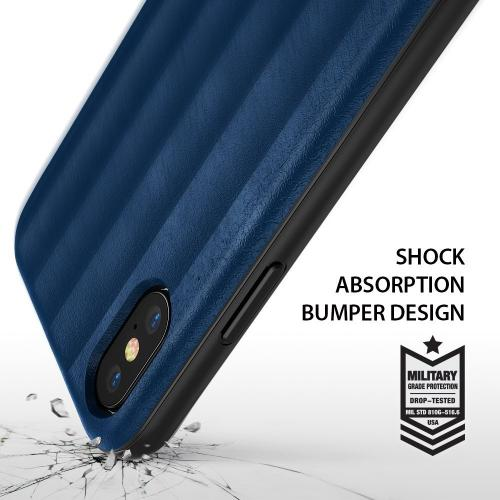 Apple iPhone X Case, Ringke [FLEX S] PU Leather Style Shockproof TPU Protective Cover - Deep Blue