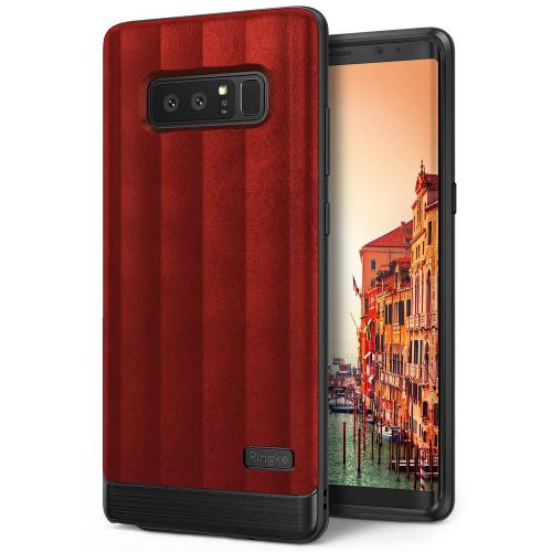 Samsung Galaxy Note 8 Case, Ringke [FLEX S] PU Leather Style Shockproof TPU Protective Cover - Red