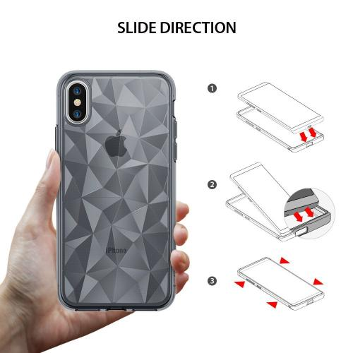 Apple iPhone X Case, Ringke [AIR PRISM] 3D Geometric Design TPU Pyramid Pattern Textured Protective Cover - Smoke Black