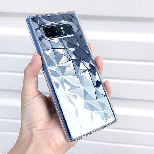 Samsung Galaxy Note 8 Case, Ringke [AIR PRISM] 3D Geometric Design TPU Pyramid Pattern Textured Protective Cover - Clear