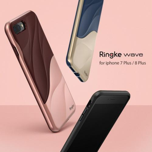 Apple iPhone 8 Plus/ 7 Plus Case, Ringke [WAVE] Dual Layer Heavy Duty Shockproof PC TPU Protective Cover - Marina Gold