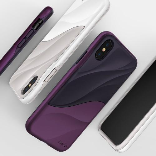 Apple iPhone X Case, Ringke [WAVE] Dual Layer Heavy Duty Shockproof PC TPU Protective Cover - Metallic Purple