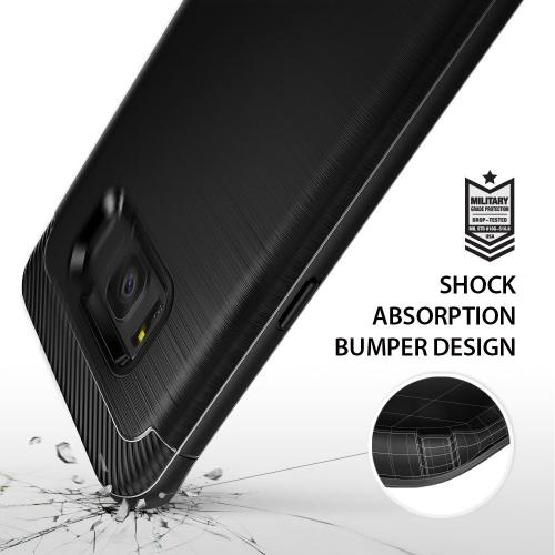 Samsung Galaxy S8 Shockproof Case, Ringke [Onyx] Fine Brushed Metal Design [Flexible & Slim] Dynamic Stroked Line Pattern Trim Durable Anti-Slip TPU Impact Shock-Absorbent Case for Samsung Galaxy S8 - Black