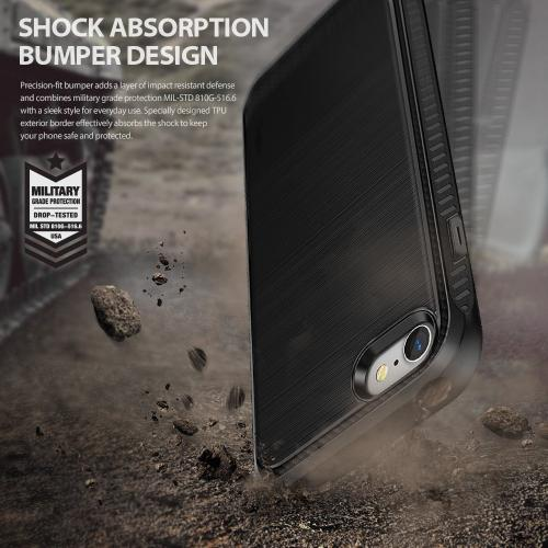 [Ringke] Apple iPhone 8 / 7 Case, [ONYX] Resilient Strength TPU Brushed Metal Texture Anti-Slip Defensive Cover [Black]