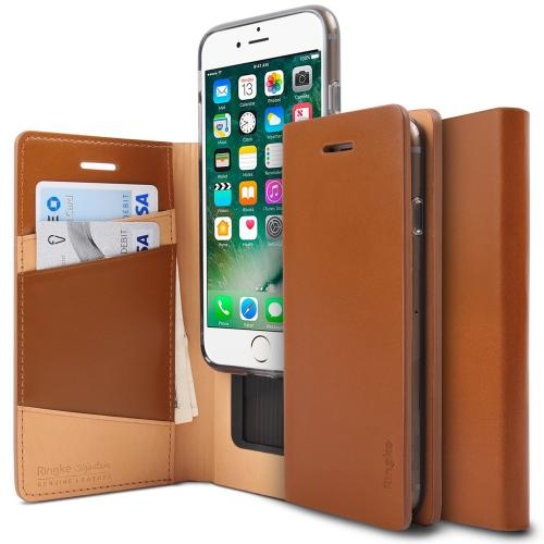 [Ringke] Apple iPhone 8 / 7 Case, [SIGNATURE] Genuine Handcrafted Leather ID / Card Slot Executive Wallet Folio [Brown]