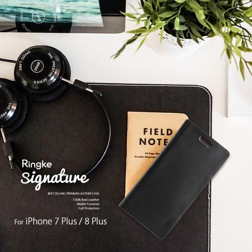 [Ringke] Apple iPhone 8 Plus / 7 Plus Case, [SIGNATURE] Genuine Handcrafted Leather ID / Card Slot Executive Wallet Folio [Black]