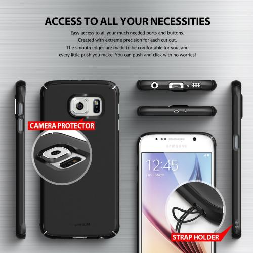 Samsung Galaxy S6 Case, Ringke [Black] SLIM Series Featuring Slim Dual Coated Matte Hard Protective Polycarbonate w/ Free Screen Protector