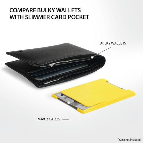 Ringke Slot Card Holder, Adhesive Stick on Wallet Case Minimalist Slim Hard Slot Card Wallet - Yellow