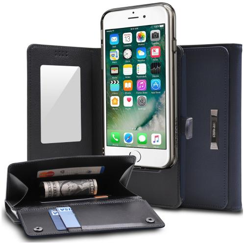 [Ringke] Apple iPhone 8 / 7 Case, [Wallet] Full Purse, Camera Slide, Card Slot, Flip Mirror, Premium PU Leather Protective Case [Navy]