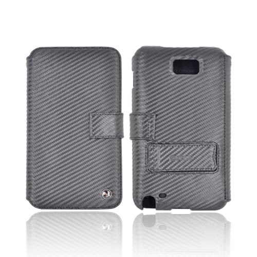 Original Zenus Samsung Galaxy Note Prestige Carbon Diary Series Leather Case w/ ID Slots & Stand, SAGXN-PC5DY-BK - Real Black