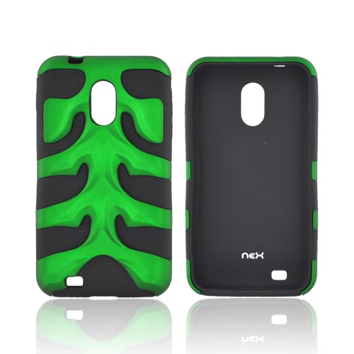 Original Nex Samsung Epic 4G Touch Rubberized Hard Fishbone on Silicone Case w/ Screen Protector, SAMD710FB10 - Green/ Black