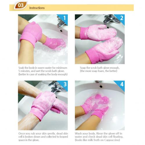 Skin Exfoliating Bath Scrub, 1 Pair of [Pink/ Finger] for Removing Dead Skin Cells - Size: Small