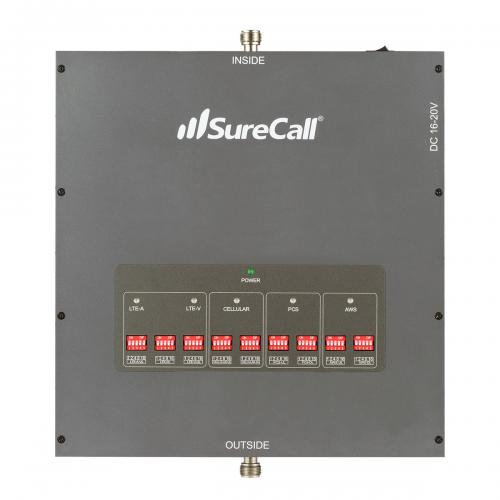 SureCall [Force5] Voice, Text & 4G LTE Cell Phone Signal Booster Yagi/ 4 Dome Kit [Large Buildings 25,000+ sq. ft]