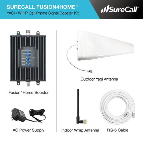 SureCall [Fusion4Home] Voice, Text & 4G LTE Cell Phone Signal Booster Yagi / Whip Kit [Homes up to 3,000 sq ft]
