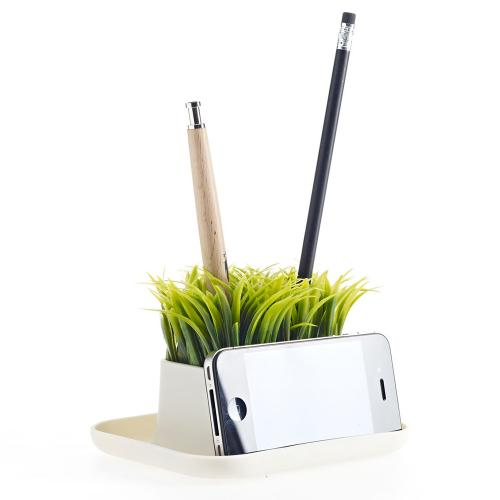 Kikkerland Fake Potted Grass Plant Pen & Phone Stand / Desk Organizer