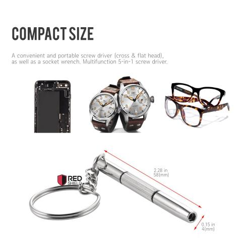 RED SHIELD 4-in-1 Screwdriver Keychain Tool for Eyeglasses, Sunglasses, and Watch Repair. Multitool includes Mini Phillips, Flat Head, Nut Driver, and Key Ring to Hang Your Keys. Aluminum Steel.
