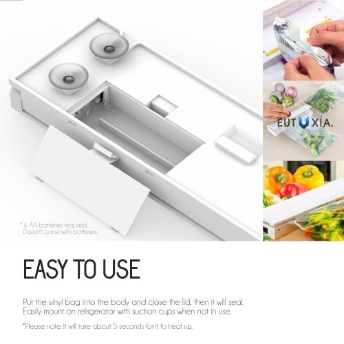 Eutuxia Heat Sealer Machine with LED Seal Indicator for Airtight Food Storage. Portable Kitchen Tool. Reseal Plastic for Longer Freshness. Great for Sealing Snacks, Cereal Bags, Meats, Leftovers.