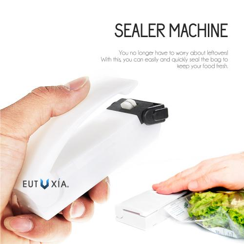 Eutuxia Mini Heat Sealer Machine for Airtight Food Storage. Handheld & Portable Kitchen Tool. Reseal Plastic for Longer Freshness. Great for Sealing Snacks, Chips, Cereal Bags, Meats, Leftovers [2 PK]