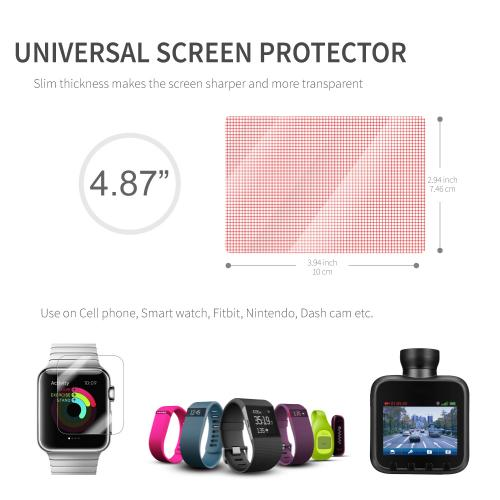 "RED SHIELD Universal Screen Protector 4.87"" for Smartphone, Smartwatch. High Definition Crystal Clear Anti-Scratch, Anti-Fingerprint, Anti-Shatter Film. Easy to Cut with Guidelines. [3 PK]"