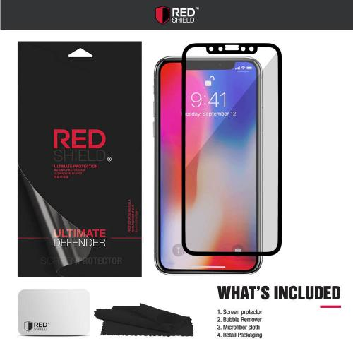 [REDshield] Apple iPhone X Screen Protector, [Tempered Glass] 3D Curved Tempered Glass Screen Protector, Covers Edge to Edge [Black]
