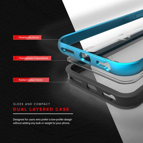 Made for Apple iPhone 8/7/6S/6 Case, SHOCK Series Aluminum Metal Bumper [Crystal Clear] Hybrid Case w/ Reinforced Edges [Blue]