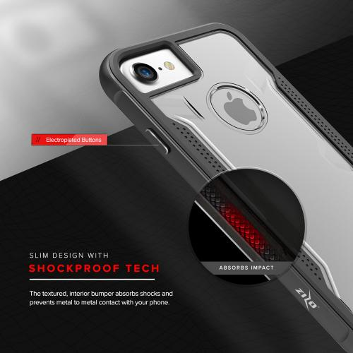 Made for Apple iPhone 8/7/6S/6 Case, SHOCK Series Aluminum Metal Bumper [Crystal Clear] Hybrid Case w/ Reinforced Edges [Black]