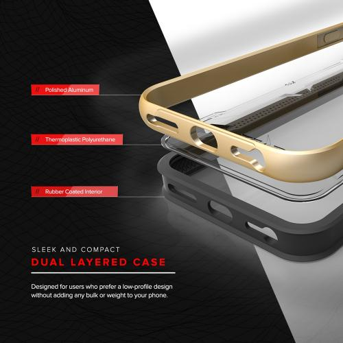 Apple iPhone 8/7/6S/6 Case, SHOCK Series Aluminum Metal Bumper [Crystal Clear] Hybrid Case w/ Reinforced Edges [Gold]