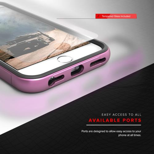 Made for Apple iPhone 8/7/6S/6 Case, SHOCK Series Aluminum Metal Bumper [Crystal Clear] Hybrid Case w/ Reinforced Edges [Pink]