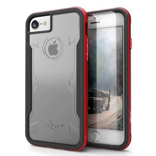 Apple iPhone 8/7/6S/6 Case, SHOCK Series Aluminum Metal Bumper [Crystal Clear] Hybrid Case w/ Reinforced Edges [Red]