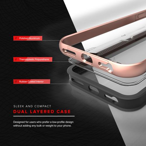 Apple iPhone 8/7/6S/6 Case, SHOCK Series Aluminum Metal Bumper [Crystal Clear] Hybrid Case w/ Reinforced Edges [Rose Gold]