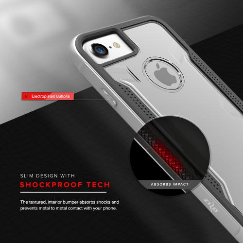 Apple iPhone 8/7/6S/6 Case, SHOCK Series Aluminum Metal Bumper [Crystal Clear] Hybrid Case w/ Reinforced Edges [Silver]