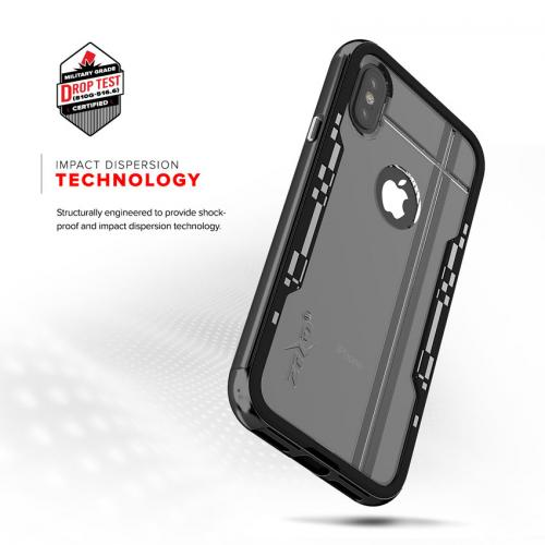 Apple iPhone X Hybrid Case, [Shock 2.0 Series] PC Metallic Bumper [Clear Back] Hard Case w/ Case Friendly Tempered Glass Screen Protector [Black/ Black]