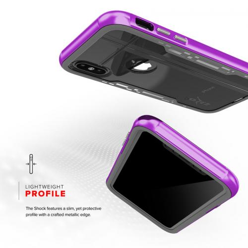 Made for [Apple iPhone X / XS 2018] Hybrid Case, [Shock 2.0 Series] PC Metallic Bumper [Clear Back] Hard Case w/ Case Friendly Tempered Glass Screen Protector [Purple/ Gray]