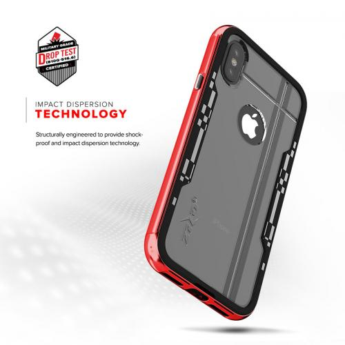 Apple iPhone X Hybrid Case, [Shock 2.0 Series] PC Metallic Bumper [Clear Back] Hard Case w/ Case Friendly Tempered Glass Screen Protector [Red/ Black]