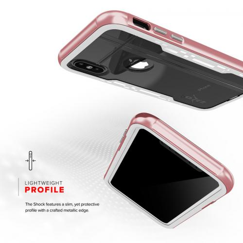 Made for [Apple iPhone X / XS 2018] Hybrid Case, [Shock 2.0 Series] PC Metallic Bumper [Clear Back] Hard Case w/ Case Friendly Tempered Glass Screen Protector [Rose Gold/ White]
