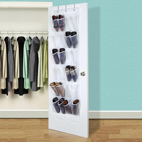 Eutuxia Over The Door 24 Pocket Shoe Organizer Hanging Rack With 3 Steel Hooks