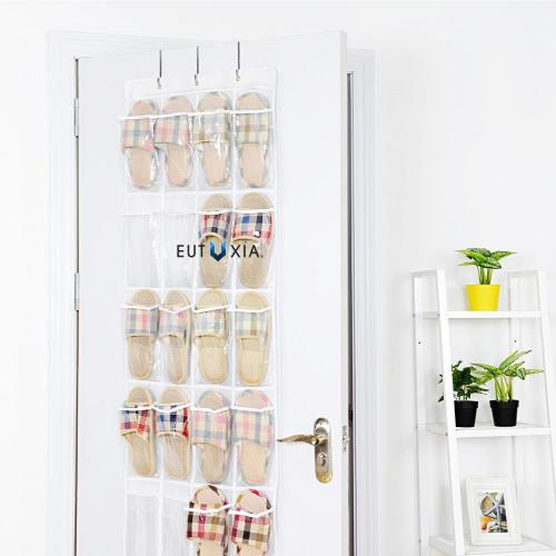 [2 Pack] Over the Door Hanging Shoe Organizer [White/Clear] - Also Perfect for Accessories, Toiletries, Laundry Items, Toys & More!