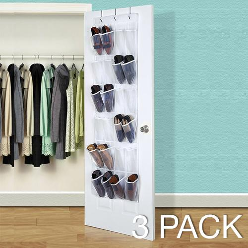 Superior [3 Pack] Over The Door Hanging Shoe Organizer [White/Clear]