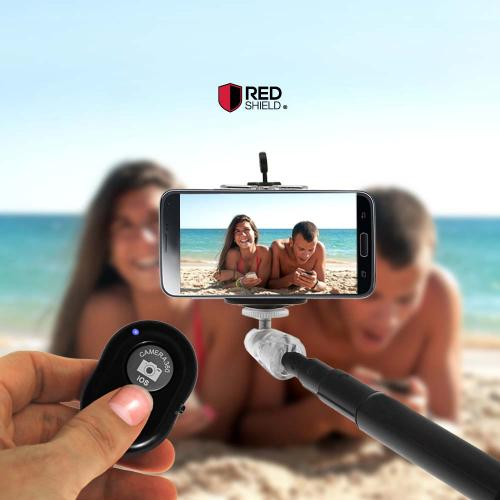 RED SHIELD Bluetooth Camera Shutter Button for Smartphones and Tablets. Take Perfect Selfies & Photos with Universal Wireless Remote Control. Android and iOS Compatible. Easy to Pair, Setup, and Use.