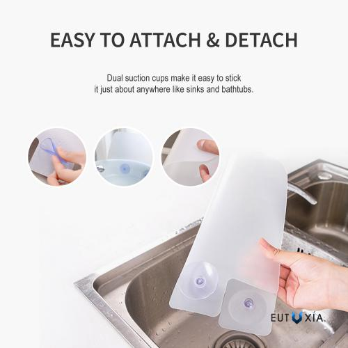 Eutuxia Silicone Sink Water Splash Guard w/ Suction Cups for Kitchen, Bathroom. Protect Yourself From Splatter & Wet Floor. Universal for Standard Sinks. Perfect for Dishwashing. Heat Resistant.