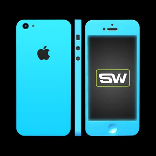 Apple iPhone SE/5/5S/5C, SlickWraps [Glow in the Dark Blue] Protective Skin & Screen Protector