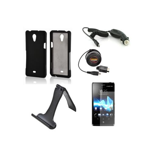 Sony Xperia TL Essential Bundle Package w/ Black Rubberized Hard Case, Screen Protector, Portable Stand, Car & Travel Charger