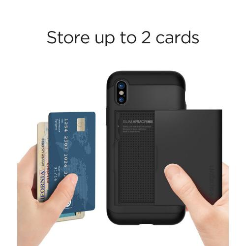 [Spigen] Slim Armor CS Case, [Black] Apple iPhone X Hybird Case W/ Slim Dual Layer Wallet Design & Card Slot Holder